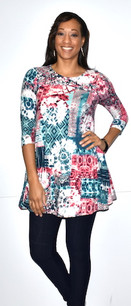 21013 Multicolored Light DTY Fabric Tunic Top