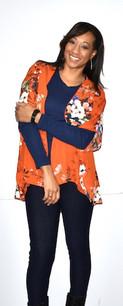 16688 Orange Floral Kimono