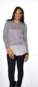 2229 Mauve/Grey Layered Button Top