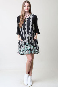 36300 Black/Turq Patterned Pocket Dress
