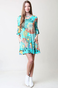 36300 Turq Circles Pocket Dress