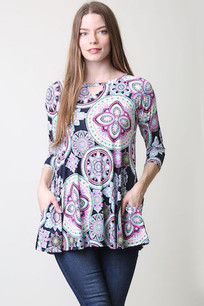 36188 Purple/Black Tunic Top