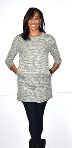 9952 Green/Grey Tweed Feel Pocket Dress