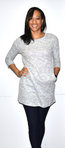 9952 Grey Tweed Feel Pocket Dress