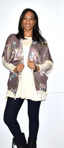 152151 Mauve Floral Print Kimono w/ Tassels
