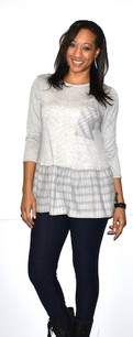 2244 Grey Plaid Trimmed Top