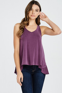 160 Purple Ruffled Back Tank Top
