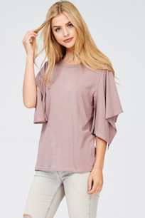 142 Mauve Slit Open Sleeved Top