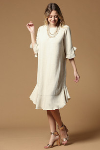 4171 Oatmeal Ruffled Bottom/Sleeved Solid Dress