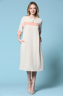 4182 Oatmeal/Blush Pocket Dress