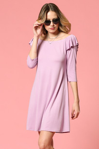 4224 Lilac Ruffled Sleeve Solid Dress