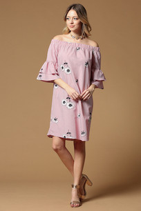 4225 Pink Double Ruffled Sleeve Dress