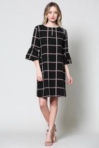 4259 Black Plaid Double Ruffled Sleeve Dress
