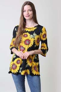 32011 Black/Yellow Floral Top