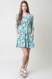 3600 Turq Patterned Pocket Dress