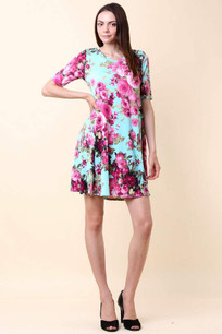 3516 Light Aqua Floral Dress