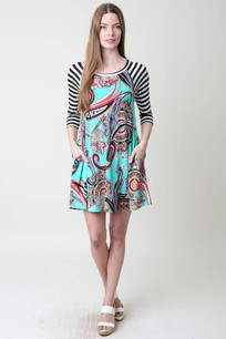 34955 Turq Striped Pocket Dress