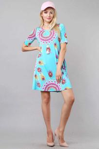 3516 Aqua Printed Pocket Dress
