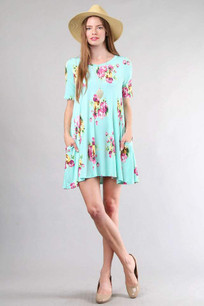 3516 Light Aqua Printed Pocket Dress