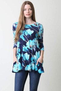 36711 Blue/Turq Printed Pocket Top w/ Criss Crossed Back