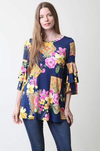 3685 Floral Ruffled Sleeved Top