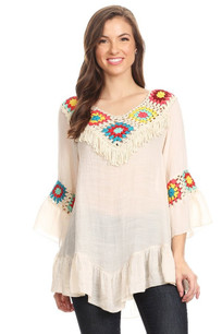 608 Beige Embroidered Crochet Top