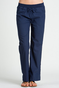 24833 Navy Linen Pocket Drawstring Pant