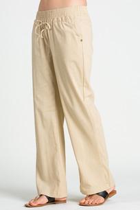 24833 Taupe Linen Pocket Drawstring Pant