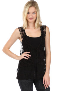 LTX-002 Black Crochet Vest