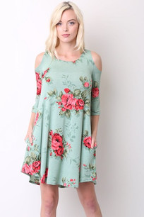 357 Mint Floral Cold Shoulder Dress