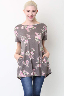 36736 Dark Grey w/Pink Criss Crossed Back Floral Pocket Top