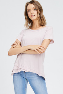 3073 Blush Black Uneven Ruffled Hem Tee