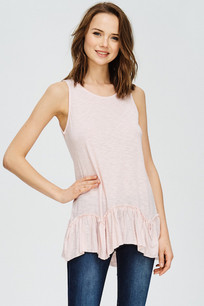 319 Blush Slub Hi Low Boyfriend Tee