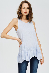 319 Light Blue Slub Hi Low Boyfriend Tee