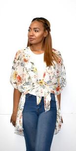 4068 White w/Grey Floral Kimono