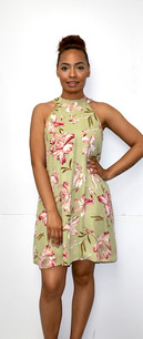 4030 Chartreuse Green Floral Fully Lined Dress