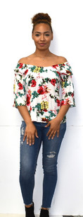 377 White Floral Top