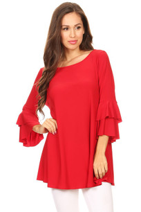 1418 Red Ruffled Top