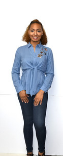 8372 Blue Embroidered Knot Front Top