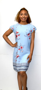 4257 Blue Floral Fully Lined Dress