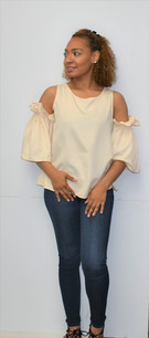 10863 Cream Open Shoulder Top