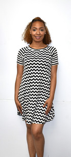34688 Black/White Striped Dress