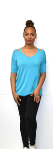 1597 Blue Strapped Shoulder Top