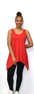 1389 Red Solid Tank Tunic