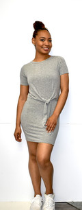 266 Grey Front Knit Tunic Dress