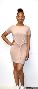 266 Light Mauve Front Knit Tunic Dress