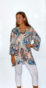 3020 Navy/Taupe Leaf Top