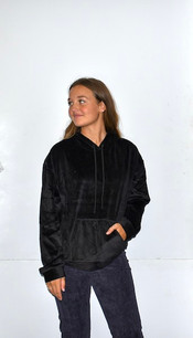 18A474 Black Velour Hooded Top