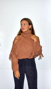 11263 Pink Orange Open Sleeve Sweater Top