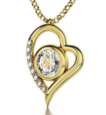 Clear Inspirational Jewelry Gold Heart Gemini Necklace